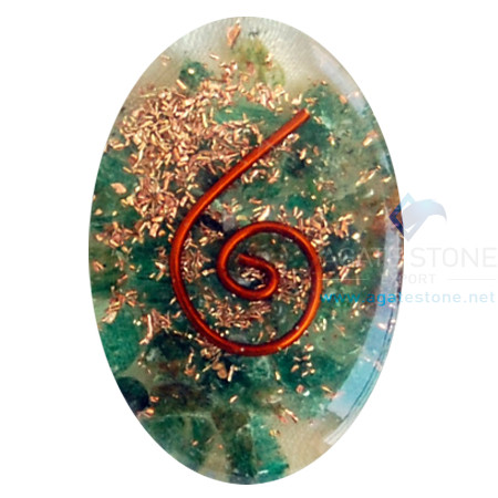 Green Jade Orgone Energy Oval Cabochon