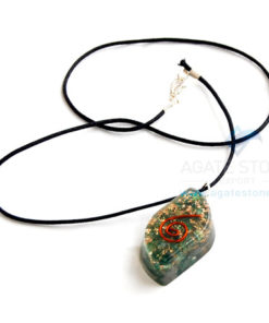 Green Jade Orgone Eye Pendant With Cord