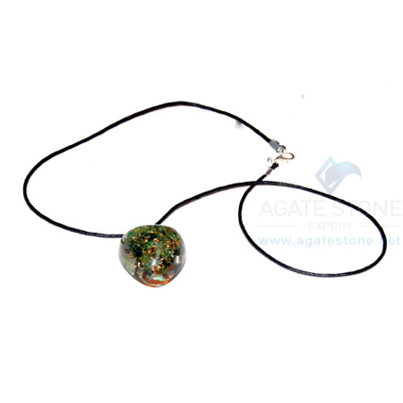 Green Jade Orgone Heart Pendant With Cord