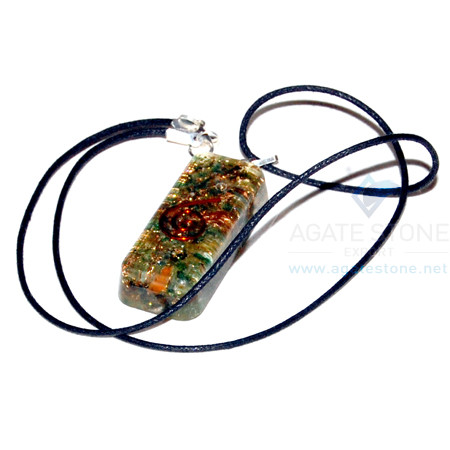 Green Jade Orgone Long Rectangle Pendant with cord