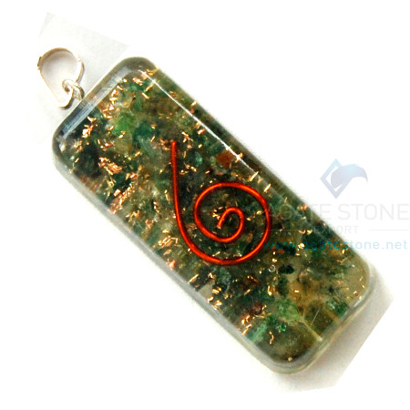 Green Jade Orgone Long Rectangle Pendant