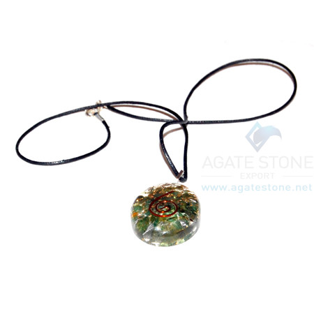 Green Jade Orgone Oval Pendant With Cord