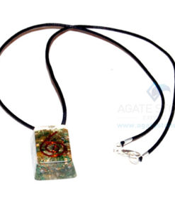 Green Jade Orgone Rectangle Pendant With Cord