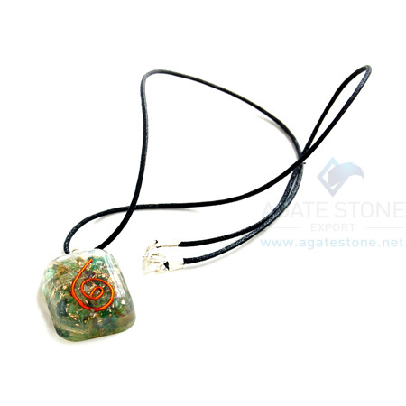 Green Jade Orgone Square Pendant With Cord