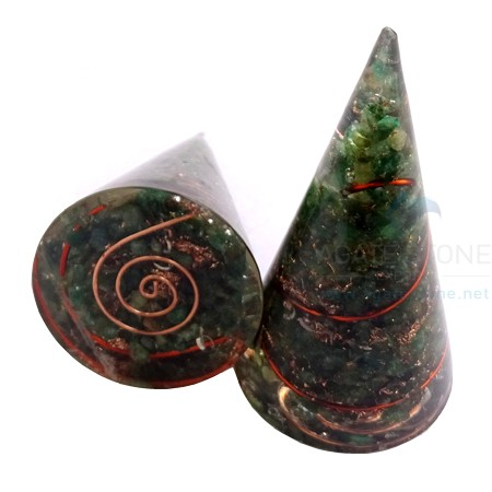 Green Jade Orgonite Cone with Crystal Point