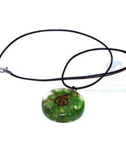 Green Onyx Orgone Disc Pendant With Cord