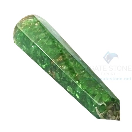 Green Onyx Orgone Energy Faceted Massage Wands