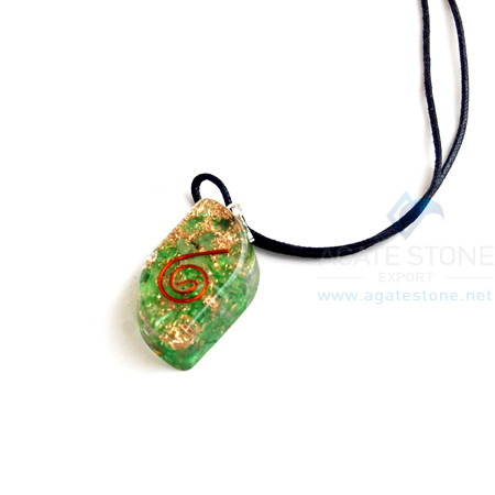 Green Onyx Orgone Eye Pendant With Cord