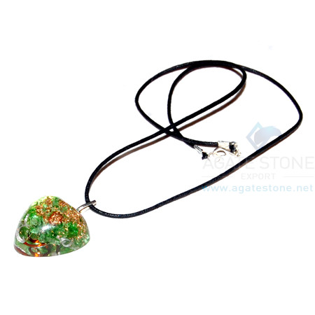 Green Onyx Orgone Heart Pendant With Cord