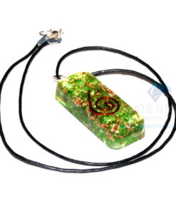 Green Onyx Orgone Long Rectangle Healing Pendant With Cord