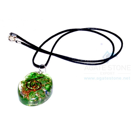 Green Onyx Orgone Oval Pendant With Cord