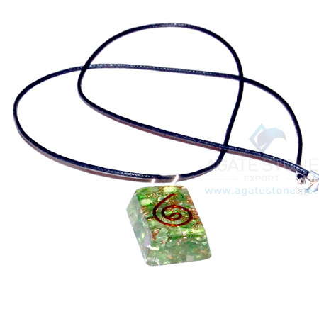Green Onyx Orgone Rectangle Pendant With Cord