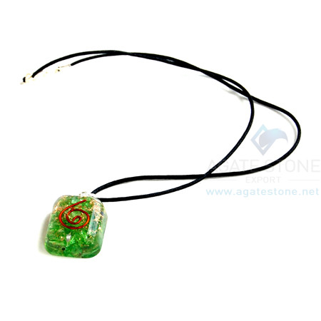 Green Onyx Orgone Square Pendant With Cord