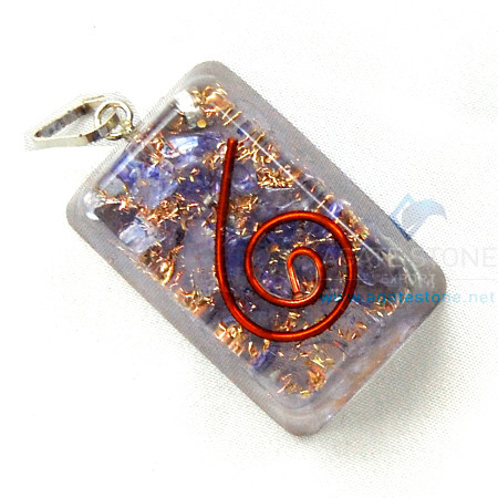 Indigo Onyx Orgone Rectangle Pendant