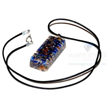 Lapis Lazuli Orgone Long Rectangle Pendant With Cord
