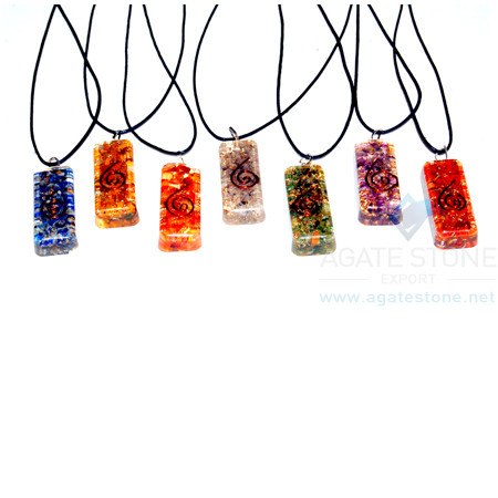 Long Rectangle Orgone Chakra Set With Cord