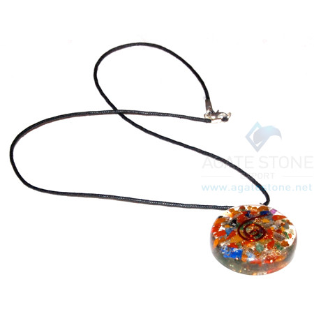 Mix Chakra Stone Orgone Disc Pendant With Cord