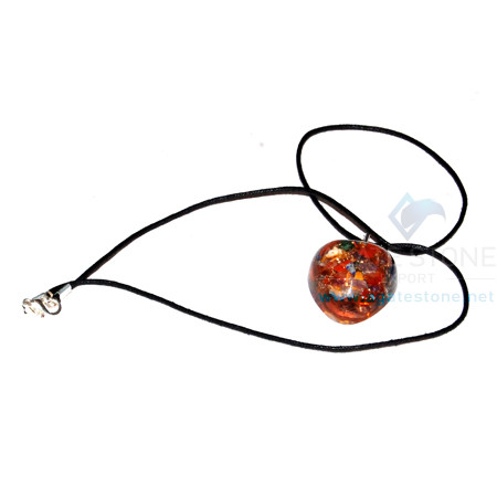 Mix Chakra Stone Orgone Heart Pendant With Cord