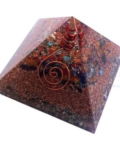 Mix Chakra Stone Orgone Layer Copper Pyramid With Point