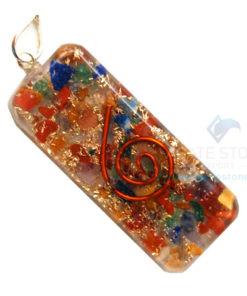 Mix Chakra Stone Orgone Long Rectangle Pendant
