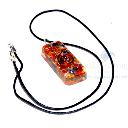 Mix Chakra Stone Orgone Long Rectangle Pendant With Cord