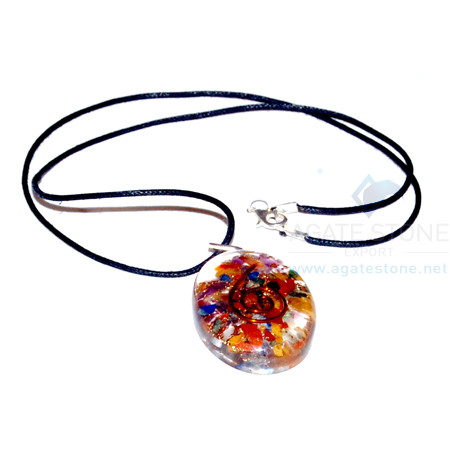 Mix Chakra Stone Orgone Oval Pendant With Cord