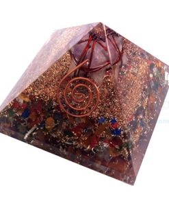 Mix Chakra Stone Orgone Pyramid With Amethyst Merkaba Star