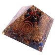 Mix Chakra Stone Orgone Pyramid With Black Toumaline Merkaba Star