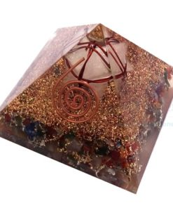 Mix Chakra Stone Orgone Pyramid With Crystal Merkaba Star