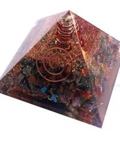 Mix Chakra Stone Orgone Pyramid With Crystal Point