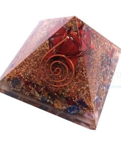 Mix Chakra Stone Orgone Pyramid With Red Jasper Merkaba Star