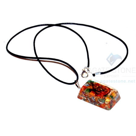 Mix Chakra Stone Orgone Rectangle Pendant With Cord