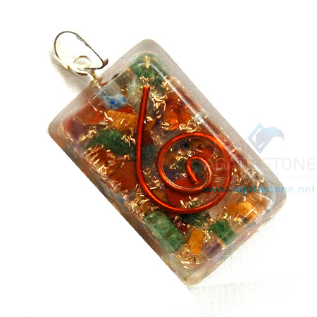 Mix Chakra Stone Orgone Rectangle Pendant