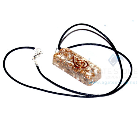 Moon Stone Orgone Long Rectangle Pendant With Cord