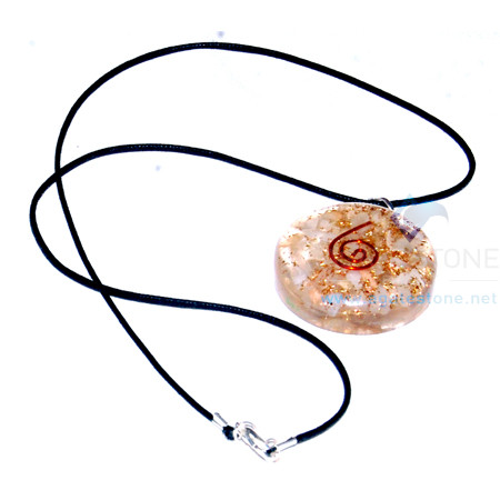 Moon stone Orgone Disc Pendant with Cord