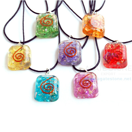 Onyx Rounded Square Pendant Chakra Orgone Set With Cord