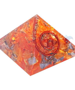 Orange Dyed Energy Orgone Chakras Small Pyramid