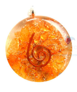 Orange Onyx Orgone Disc Pendant