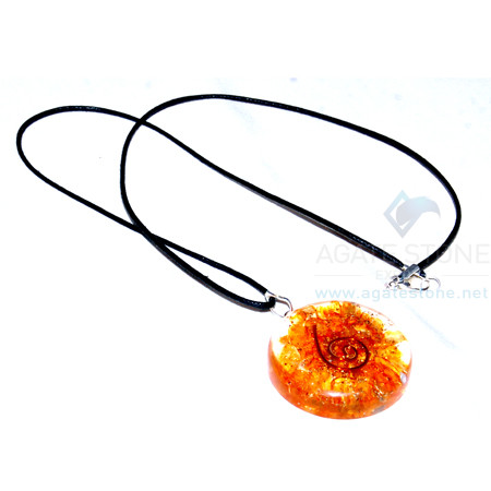 Orange Onyx Orgone Disc Pendant With Cord