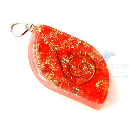 Orange Onyx Orgone Eye Pendant
