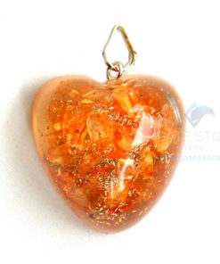 Orange Onyx Orgone Heart Pendant