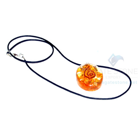 Orange Onyx Orgone Oval Pendant With Cord