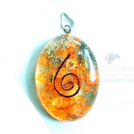 Orange Onyx Orgone Oval Pendant