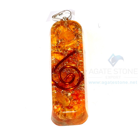 Orange Onyx Orgone Pipe Pendant