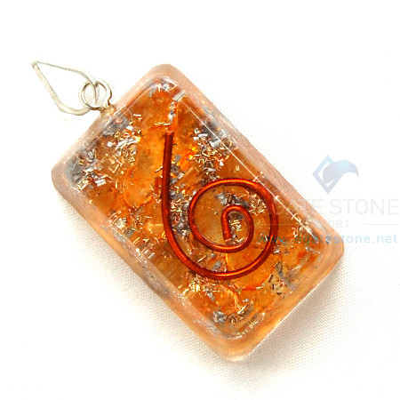 Orange Onyx Orgone Rectangle Pendant