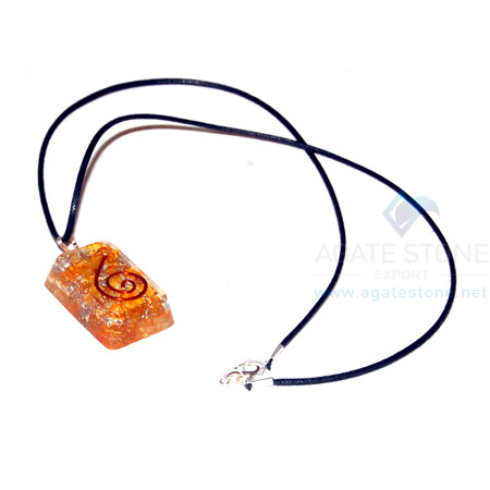 Orange Onyx Orgone Retangle Pendant With Cord
