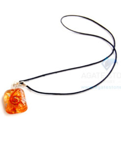 Orange Onyx Orgone Square Pendant With Cord