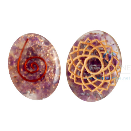 Orgone Engraved Crown Chakra Oval Cabochon