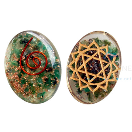 Orgone Engraved Heart Chakra Oval Cabochon