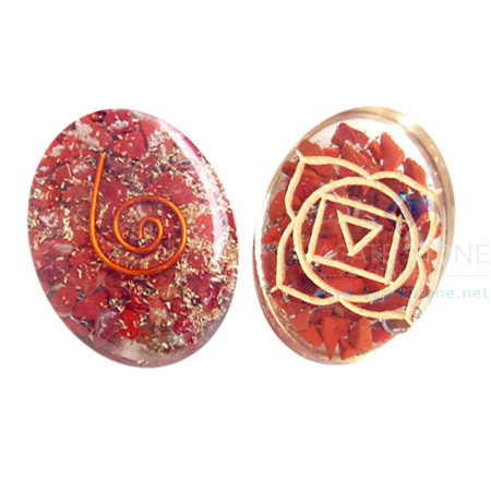 Orgone Engraved Root Chakra Oval Cabochon